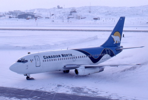 "Canadian North uses the Air Canada/CAE 737-200 sim. Here C-GDPA 737-200 (formerly of Dome Petroleum) arrives at ""YFB"" Iqaluit on a February 2006 quick turn-around from Ottawa bound for Rankin Inlet and Yellowknife."