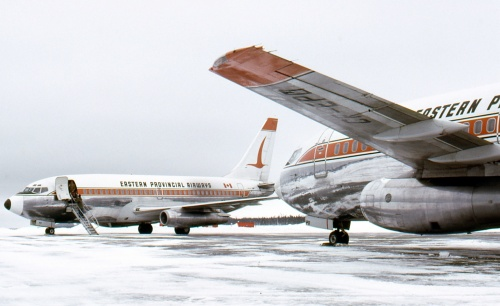 EPA 737s CF-EPO and CF-EPP at Wabush in 1975.