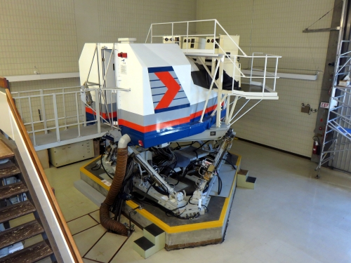 The 1976-model CAE Boeing 737-200 flight simulator as it sits today in the Air Canada training centre in Vancouver. Note that it remains in its vintage Canadian Airline International colour scheme.