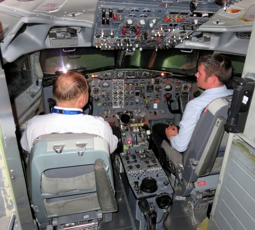 the present day cockpit. Note that the basic instrumentation remains, while numerous improvements have been added (compare with the original version above). (A.T. Jarvis)