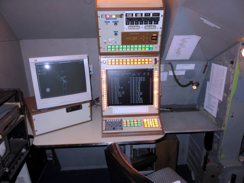 The old-fashioned looking instructor's station in the 1976 sim. Clunky, but it works. (A.T. Jarvis)
