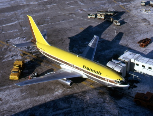 Transair 737 CF-TAO at Toronto on January 5, 1974.