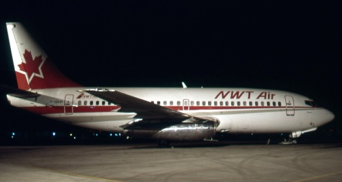 NWT Air 737 C-GNWT waits at Winnipeg on November 14, 1990 for its next DEW Line re-supply mission. NWT Air today is part of FirstAir, whose 737-200 pilots still train on the famous old CAE sim in Vancouver.