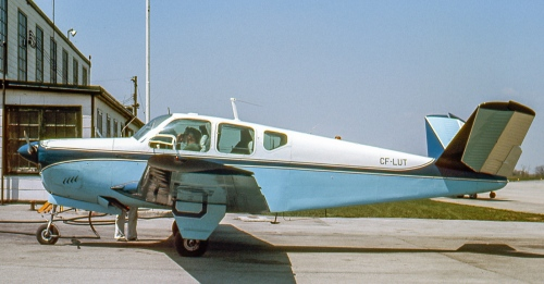 "Bonanza CF-LUT was 1950-built K35 D-5726. Bob Finlayson photographed it at Hamilton's Mount Hope Airport on May 6, 1967. Having begun as N620T, it came to Canada for Beech dealer Field Aviation in August 1959. It soon was sold to John W. Combs Ltd. of Toronto. Actress Joan Fairfax had it in 1961-62, then it was based in Regina until sold in 1967 to Toronto aircraft dealer, Bob Quigley. He sold ""LUT"" to D.V. Brown of Manitoulin Island. On March 4, 1979 Brown and his wife died when ""LUT"" flew into a West Virginia mountain while flying from Toronto to Florida. Canada's worst Bonanza accident occurred on February 13, 1949, when legendary Canadian aviator, Wally Siple of Montreal, his wife and five children all died when their (4-seat) Bonanza CF-FYC crashed in foul weather en route Montreal - Ottawa."