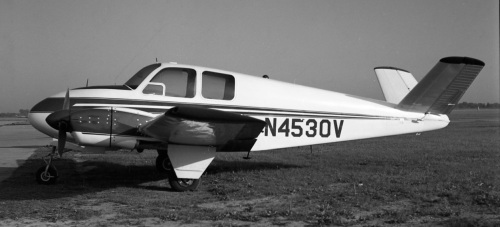 The Bonanza gave rise to some natural spin-offs, starting with the Model 50 Twin Bonanza. Seen at Toronto Island on July 16, 1963 is F50 Twin Bonanza CF-OIP s/n FH96, recently bought from the Milwaukee Braves, and soon in use with Sarnia-based upstart charter company, Great Lakes Air Services. From 1950-63 almost 900 Twin Bonanzas were built in several versions. Initially, they were top-line executive planes and small feeder liners. Eventually, they filtered down the line to end in such unglamorous roles as hauling fish in northern Canada. Then, Super V N4530V in its spiffy white and blue paint job at Toronto Island Airport on May 14, 1961. The Super V was an oddball 2-engine Bonanza conversion that began with Bay Aviation in Oakland in the mid-1950s, then migrated to Fleet Aircraft at Fort Erie (see Air Transport in Canada, Vol.2 for this story). However, the Super V did not find a market. Only 14 were turned out, at least eight of which ended in crashes. Three or four survive including N4530V based in 2016 in Oak Ridge, Tennessee. (Larry Milberry)