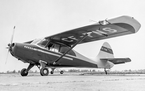"In 1947 Aeronca introduced its own 4-seater, the attractive Model 15AC Sedan. Framed in metal and wood and covered in fabric, the Sedan proved a durable type with good performance and cabin spaciousness to the point that small bush operators were quick to buy. Production ended in 1951 at 561 Sedans. Not only are the survivors now collectable (they sell in the US$60,000 range), but newly-built Sedans can be ordered in Alaska from Burl's Aircraft (base price US$235,000). Shown is Sedan CF-FNS s/n 328 at St. Catharines on May 18, 1963. ""FNS"" went new in 1949 to W.N. Dalzeg of Morson, a remote Lake-of-the-Woods hamlet accessible only by boat or plane. Next, it called Whitedog Falls (NW of Minaki) its home after Henry Zuzek bought it in 1958. Ten years later it moved to Terrace Bay on Lake Superior, then to Timmins, finally Matheson. In 1997 retired Air Canada pilot Ron Dennis bought ""FNS"" from Cec Tomlinson, a mining man in Matheson. In 2016 Ron was getting his wing rebuilt at Parry Sound to keep ""FNS"" fit for many more good years of flying. (Larry Milberry)"