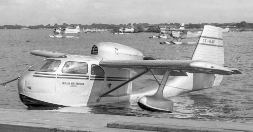 "Of all the new light planes of the mid-to-late 1940s one of the most representative is the Republic RC-3 Seabee. Invariably referred to as ""an ugly duckling"", it's endured admirably and is greatly sought after by sport aviators. Being all-metal, rugged and amphibious, the Seabee originally found eager fans among sportsmen, cottagers, and bush and coast air taxi services. Designed in 1940 by Percival Spencer, who first had flown in his own hang glider in 1911, the Seabee first flew in December 1945. It immediately entered production at Republic, which recently had been churning out P-47 Thunderbolt fighters. Production suddenly ceased in October 1947 at 1060 aircraft, many of which were sold in Canada. Republic then concentrated on mass-producing F-84 Thunder Jets for the USAF. Subsequently, many Seabee survivors have been restored, especially with modern engines, e.g., Eric B. Robinson of Lindsay, Ontario has turned out several ""new"" Seabees powered by the 425-hp Corvette V-8 engine (the Seabee originally came with a 165-hp Franklin), plus other upgrades. Shown at Toronto Island c1950 is Orillia Air Service Seabee CF-GAF. For all the latest Seabee news visit www.seabee.info. (Al Martin)"