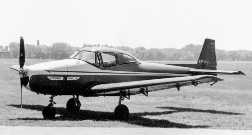 ". Also keen on the personal plane market was Ryan, which built the high-end 4-seat Navion. Designed by North American, the Navion looked reminiscently like the beloved wartime P-51 Mustang. But North American decided not to challenge the postwar civil market after all, selling the Navion to Ryan in 1948. About 1200 were produced before Tusco took over and kept the Navion alive for several more years, modernizing it along the way mainly in the form of the very handsome Rangemaster, which endured into 1976. In the 2000s there still was interest in this fabulous design from Sierra Hotel Aero Inc. Inc. in Minnesota. SHA's website notes: ""As holder of the type certificate for the Navion, Sierra Hotel Aero, is dedicated to improving the safety, support, performance and preservation of all Navions worldwide."" See info@navion.com. As with most of the great light planes of the 1940s, there also is a Navion owners club. See navionx.org and look for the many other Navion-related sites. Shown is 1947 Navion CF-HJI of the St. Catharines Flying Club. Originally N8957H, the club acquired it in December 1953, then flew it until an accident three years later. Rebuilt by Trans Aircraft of Hamilton, ""HJI"" then had a succession of owners across Canada and in 2016 still is listed (along with 35 others) in Transport Canada's Canadian Civil Aircraft Register. Special thanks to astronomer Andrew Yee for processing these old negatives and slides. (Al Martin)"