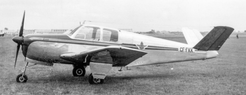"The initial six Canadian Bonanzas arrived via Beech's distributor, Page Aviation of Canada. These were CF-FKI through CF-FKM, including Shell Aviation's CF-FKM D-218, and the Royal Canadian Flying Club Association's CF-FKK D-140. Gross weight for this early version was 2550 pounds. ""FKM"" was delivered in July 1947. Having served Shell reliably, it was sold in 1956 to Arcade Electric Co. of Toronto. Various others enjoyed this classic plane over the years, especially Clifford Watson of Elora, Ontario, who operated it from 1976 to 2014. In 2016 ""FKM"" was residing in Revelstoke, BC. Note the two side windows. Later Bonanzas had three. Many earlier machines eventually had the third window retrofitted (see C-GZAY below). Both these photos were snapped by the (late) great Toronto aviation fan, Al Martin. In 1963 Al was a founding member of the Canadian Aviation Historical Society and twisted my arm that year to join. Putting down my $2.00, I received CAHS membership No.11, for which I owe Al Martin a great deal."