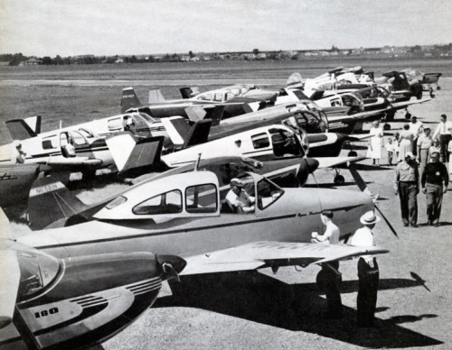 This scene at Regina during the 1953 Trans Canada Air Tour couldn't illustrate better the predominance of the Bonanza as a private plane. At least nine V-tails can be counted. (Canadian Aviation)