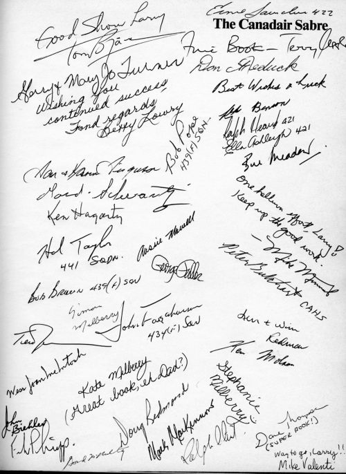 Some of the autographs I collected in my Sabre book at our Toronto 1986 book launch.