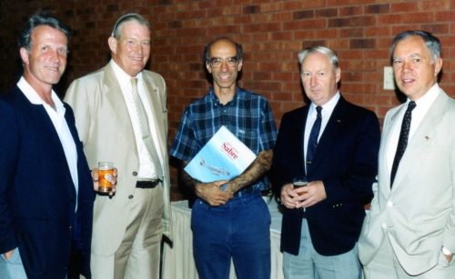 Caption Air reservists attending the book launch included Jim Foy, Denny Den Ouden, Mike Valenti, Ron Richardson and Gord Mansell. All but Mike (from the Otter era) had flown Sabre 5s from Downsview.