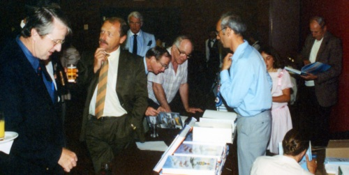 No trouble moving a few copies at the book launch 30 years ago. At the left here is Chuck Kemp (430 Sqn 1960-63), Gerhard Joos (Luftwaffe F-84F), Spitfire veteran Raymond Munro (dark tie), photographer/artist Bob Finlayson, modeller Derek Pennington, author Larry Milberry with daughter Stephanie, and Max Nerriere (Orenda).