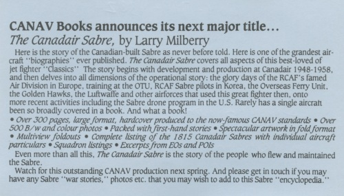 This is the announcement I mailed out in 1985, once I decided to do the Sabre book.