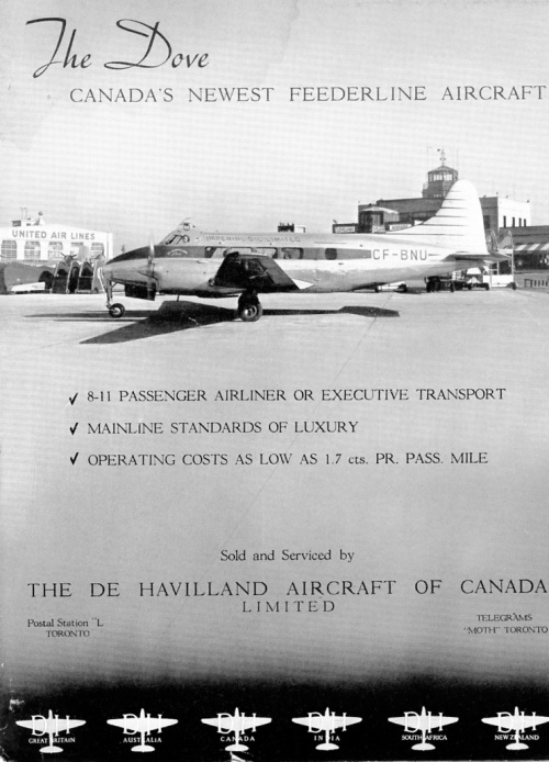 "Great Britain also introduced Britain's de Havilland Dove in the 1940s, de Havilland of Canada being the distributor. There was an initial flurry of sales for corporate with companies as Federal Equipment, Massey Harris and Shell Oil – the Dove provided comfortable, speedy transportation on short runs. However, US competition in the form of the superior Beech 18 made the Dove a tough sell. DHC adapted the Dove to floats – it worked OK during trials, but really was impractical, so never saw service. In these years the Dominions were doing everything they could to support the UK aircraft industry -- times were tough in Great Britain. However, at every turn there were problems selling British planes in the face of (usually) better US types, and the flood of cheap war surplus planes. The concept of the ""feeder liner"", as mentioned in this ad, really was a pipedream in Canada in the 1940s. The feeder liner didn't really emerge for another 25-30 years, when it became reality with such types as the Beech 99, Beech 1900 and (ultimately) the Dash 8 and ATR."