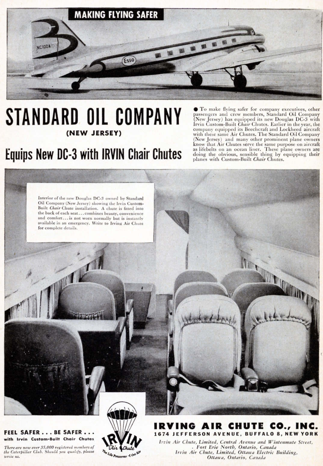 Endless new products poured onto the market in the late 1940s, parachutes for airliners and private planes included. Irvine Air Chute Co. of Fort Erie and Buffalo was selling these, but there were few takers. The chutes were packed as tightly as possible in seat backs, but their cost and use of scarce space soon saw this exotic idea fade. Interestingly, Cirrus aircraft today equips each of its aircraft with a parachute to lower the entire plane to the ground in case of dire emergency.