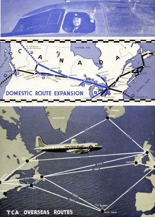"Great things developed for Trans-Canada Air Lines early after the war. New aircraft like the DC-3 and North Star were the biggest change. These allowed for a much expanded route structure. More than 20 newly rebuilt DC-3s were delivered by Canadair starting in 1945, so the well-worn fleet of Lockheeds was sold. This basic ""advert"" tells the story. No doubt the planes went at give-away prices. Toronto-based buyers alone included Imperial Oil, which took CF-TDB, BA Oil– CF-TCH and CF-TDE, Massey Harris farm equipment company in Toronto, -- CF-TDG and Noranda Mines – CF-TCV. For their new role as corporate planes, the basic old TCA Lockheeds were gutted, then rebuilt with swish interiors. As such, they served into the early 1960s – Rolls-Royces of the airways, the granddaddies of today's Global Express. The route map shows how TCA, recently re-equipped with Canadair North Stars, was eagerly expanding domestically and on the Atlantic. As you can see, 1947 advert graphics could be quite basic."