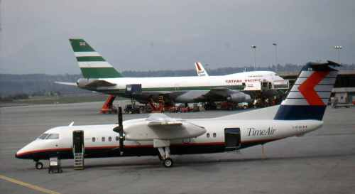 Dash 8 No.2 C-GTAG of Time Air at Vancouver on April 9, 1990