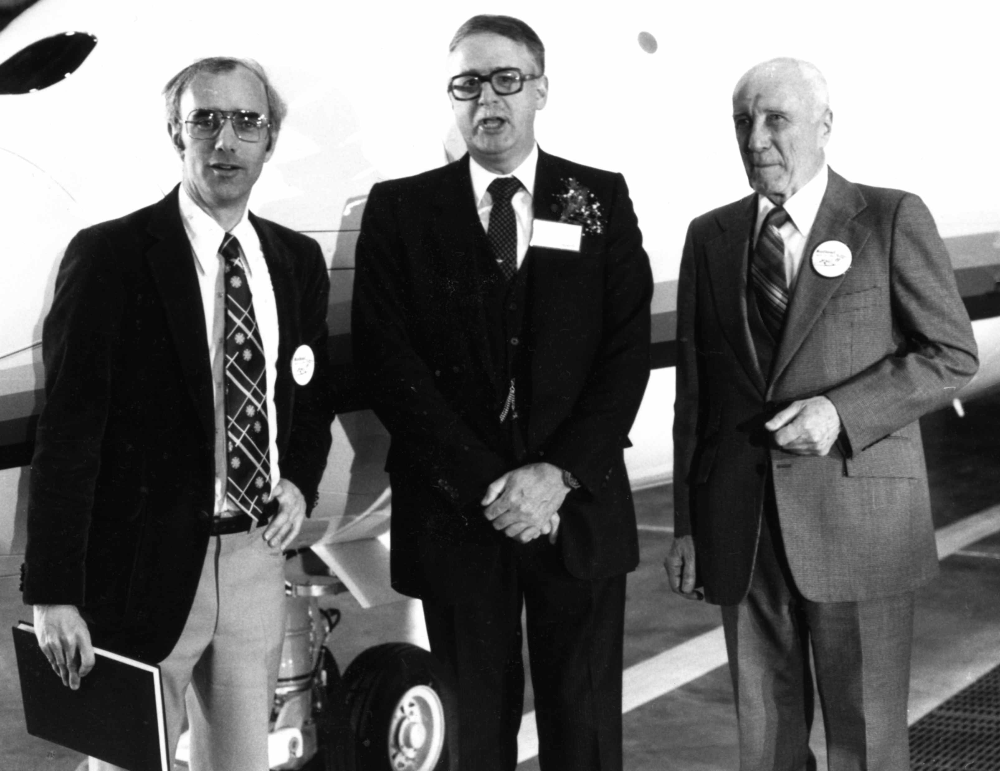 CANAV History 18 Larry, John Sandford DHC President, Fred at D.8 Rollout 1983