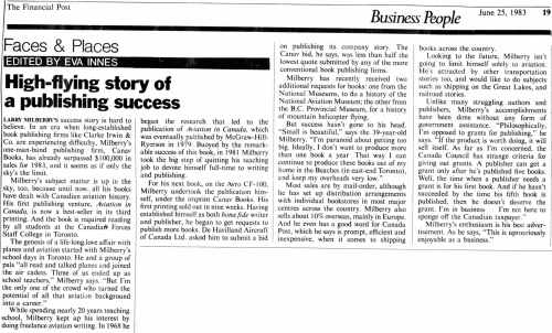 CANAV History 19 Feature Financial Post 25-6-1983